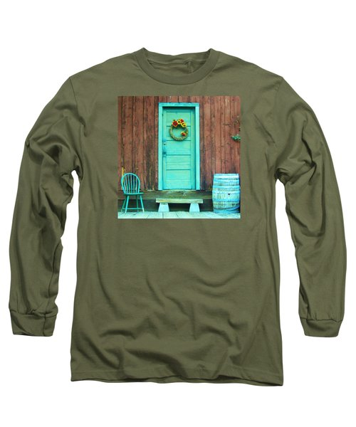 Long Sleeve T-Shirt featuring the photograph The Blue Door by Marilyn Diaz