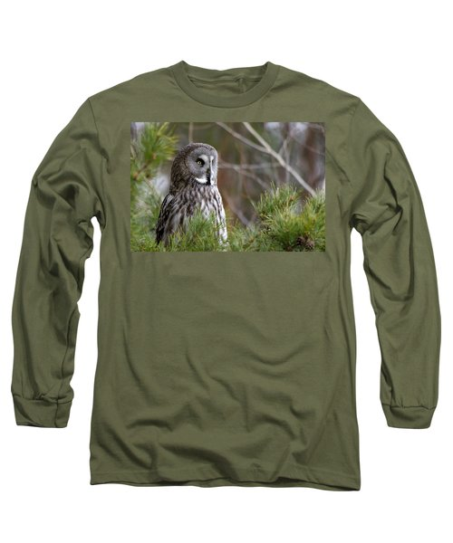 The Great Grey Owl Long Sleeve T-Shirt by Torbjorn Swenelius
