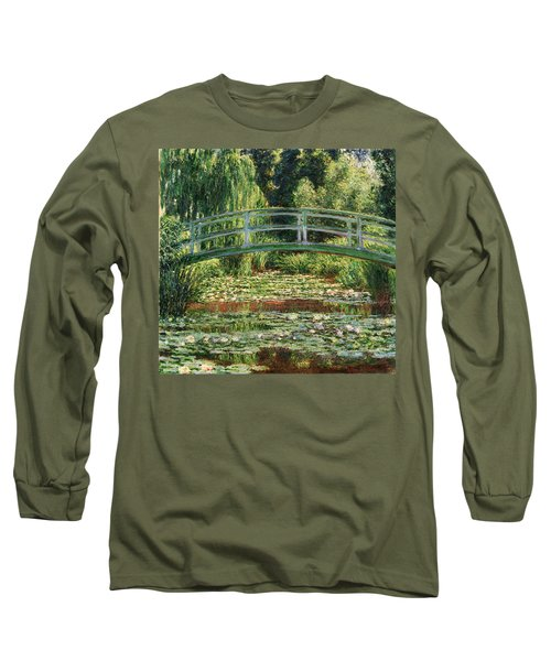 The Japanese Footbridge And The Water Lily Pool Giverny Long Sleeve T-Shirt by Claude Monet