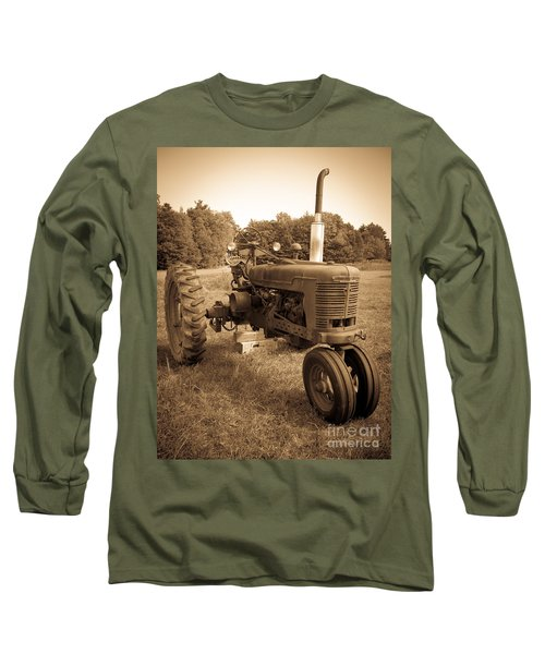 The Old Tractor Sepia Long Sleeve T-Shirt