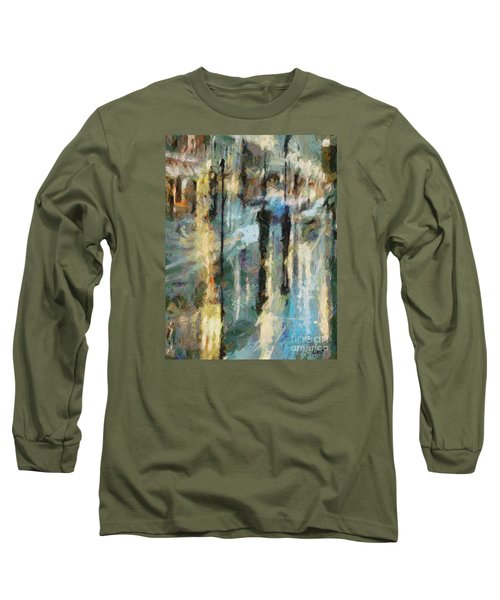 Long Sleeve T-Shirt featuring the painting The Rain In Paris by Dragica  Micki Fortuna