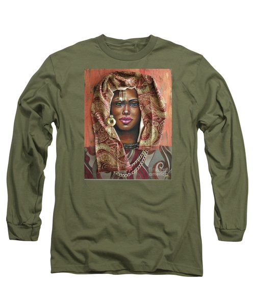 Long Sleeve T-Shirt featuring the painting The Whole Story Behind Her Hazel Eyes by Alga Washington