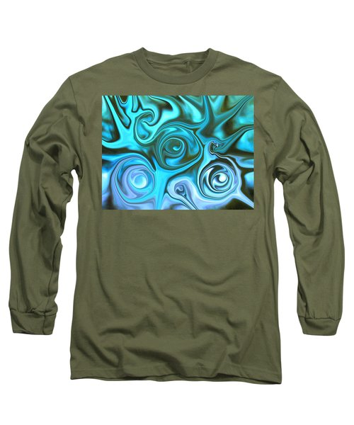 Turquoise Swirls Long Sleeve T-Shirt