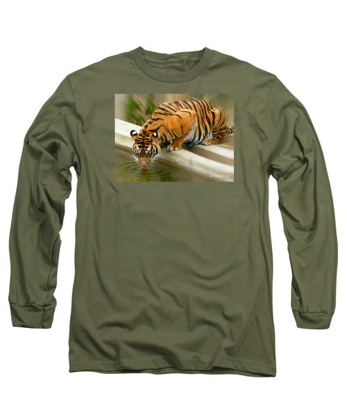 Thirsty Sumatran Tiger Long Sleeve T-Shirt by Emmy Marie Vickers