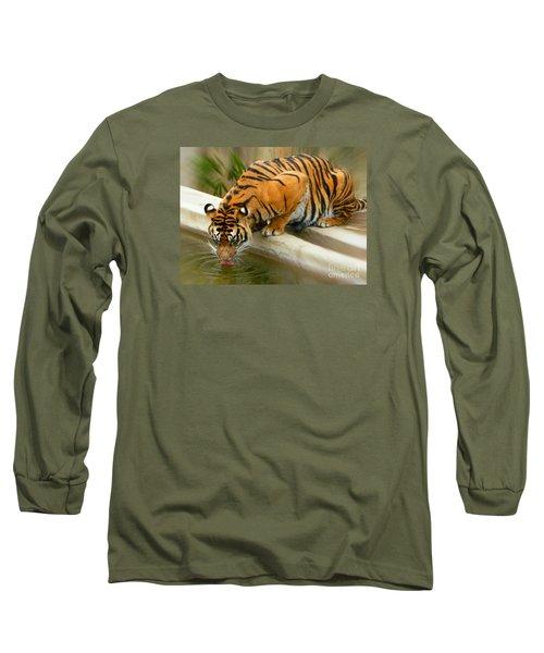 Thirsty Sumatran Tiger Long Sleeve T-Shirt