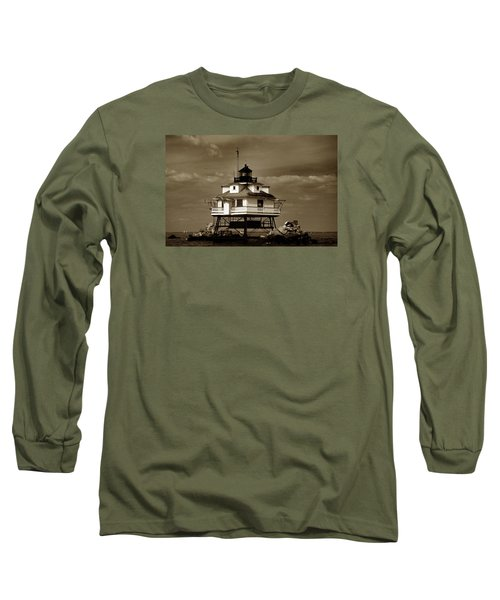 Thomas Point Shoal Lighthouse Sepia Long Sleeve T-Shirt by Skip Willits