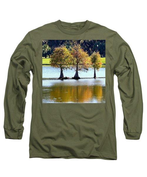 Three Autumn Cypress Trees Long Sleeve T-Shirt