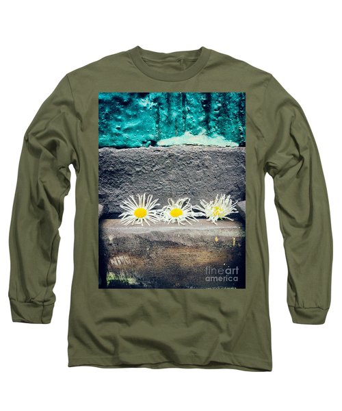 Long Sleeve T-Shirt featuring the photograph Three Daisies Stuck In A Door by Silvia Ganora