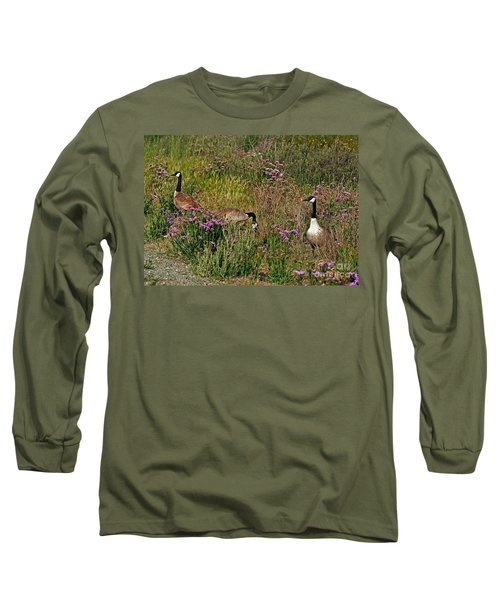 Long Sleeve T-Shirt featuring the photograph Three Quiet Canada Geese by Susan Wiedmann
