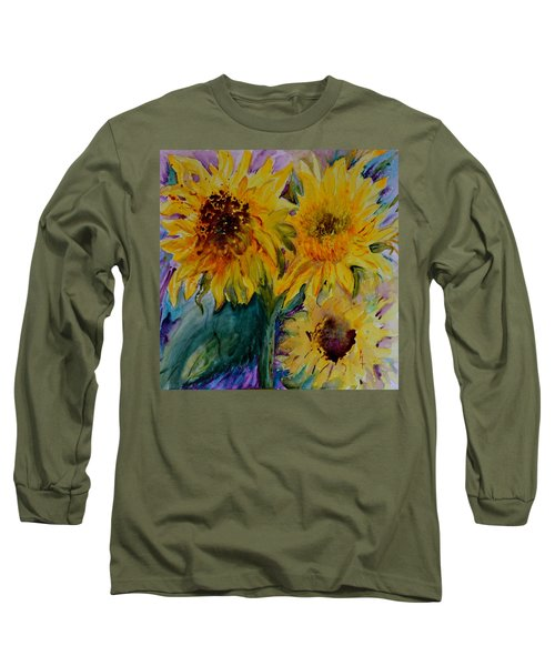 Three Sunflowers Long Sleeve T-Shirt by Beverley Harper Tinsley