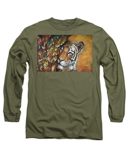 Long Sleeve T-Shirt featuring the painting Tiger 300711 by Selena Boron