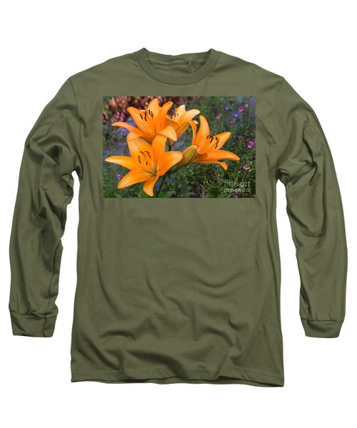 Tiger Lilies Long Sleeve T-Shirt by Arlene Carmel
