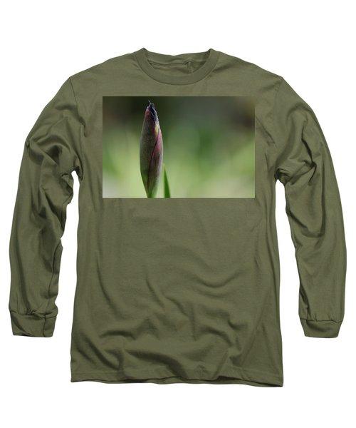 Today A Bud - Purple Iris Long Sleeve T-Shirt by Debbie Oppermann