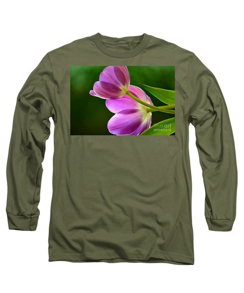 Topsy-turvy Tulips Long Sleeve T-Shirt by Deb Halloran