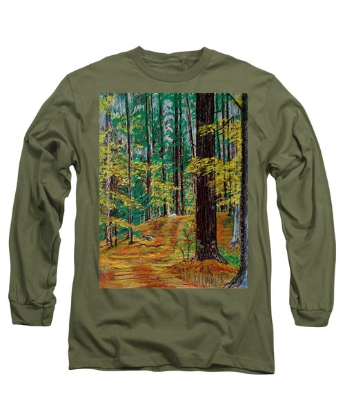 Trail At Wason Pond Long Sleeve T-Shirt by Sean Connolly