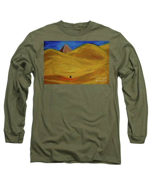 Long Sleeve T-Shirt featuring the drawing Travelers Desert by First Star Art