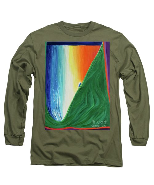 Long Sleeve T-Shirt featuring the painting Travelers Rainbow Waterfall By Jrr by First Star Art