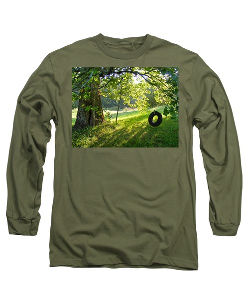 Tree And Tire Swing In Summer Long Sleeve T-Shirt