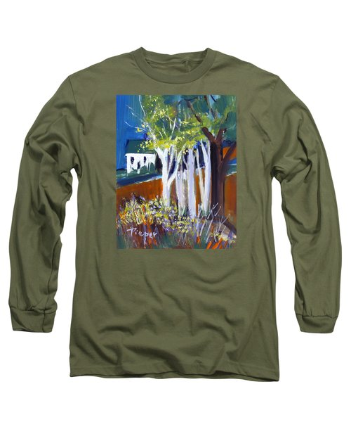 Trees And White Farm House Long Sleeve T-Shirt