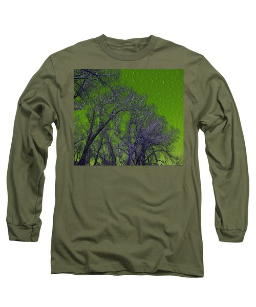 Trees On Green Sky Long Sleeve T-Shirt