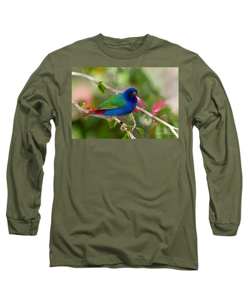 Long Sleeve T-Shirt featuring the photograph Tricolor Parrot Finch by Les Palenik