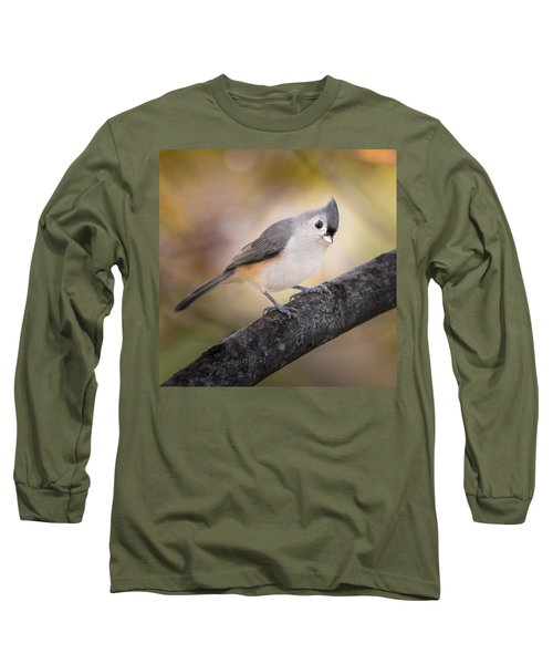 Tufted Titmouse Long Sleeve T-Shirt by Bill Wakeley