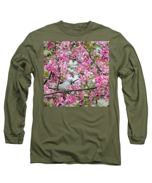 Tufted Titmouse In A Pear Tree Square Long Sleeve T-Shirt by Bill Wakeley