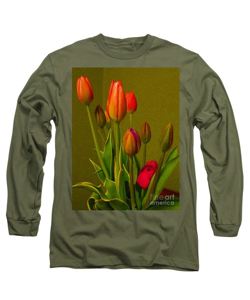 Tulips Against Green Long Sleeve T-Shirt by Nina Silver