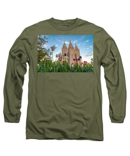 Tulips At The Temple Long Sleeve T-Shirt by Dustin  LeFevre