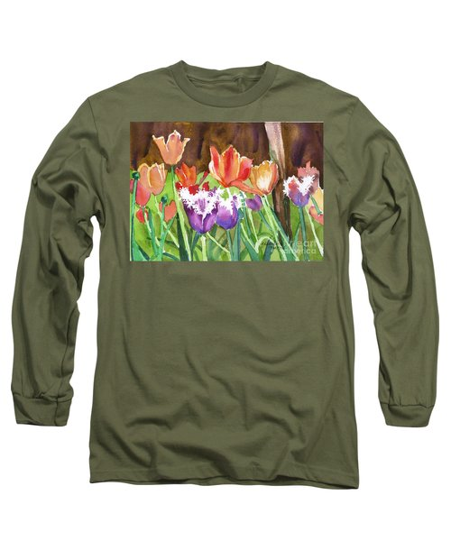 Long Sleeve T-Shirt featuring the painting Tulips In Spring by Yolanda Koh