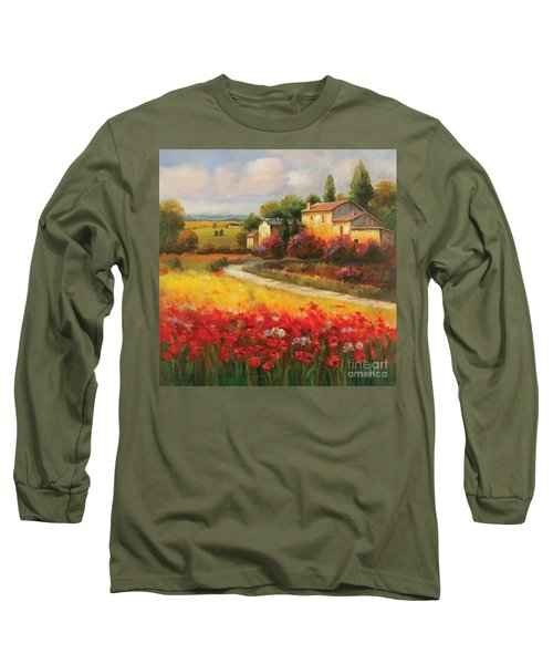 Long Sleeve T-Shirt featuring the painting Tuscan Villa  by Tim Gilliland