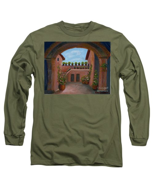 Long Sleeve T-Shirt featuring the painting Tuscany Arch by Becky Lupe
