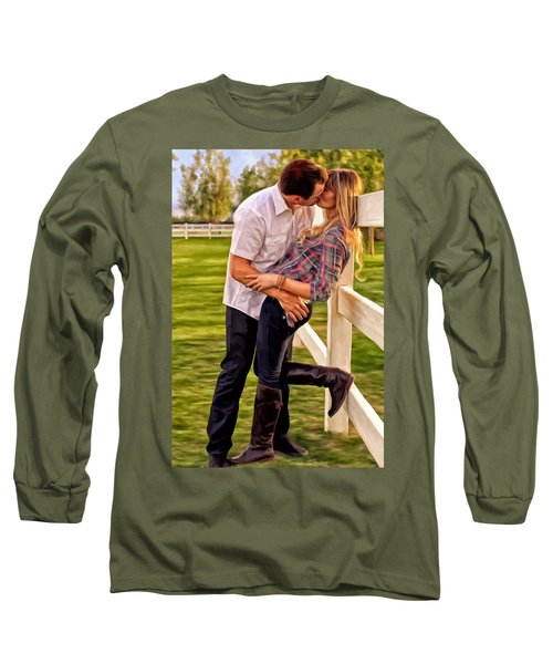 Long Sleeve T-Shirt featuring the painting Twas Not My Lips You Kissed But My Soul by Michael Pickett