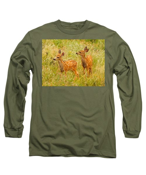 Twin Fawns Long Sleeve T-Shirt by Dan Miller