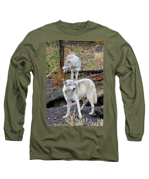 Twin Wolves Long Sleeve T-Shirt by Athena Mckinzie