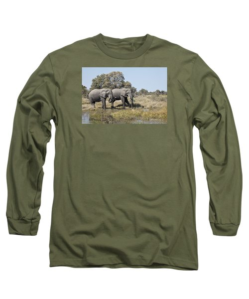 Two Bull African Elephants - Okavango Delta Long Sleeve T-Shirt by Liz Leyden