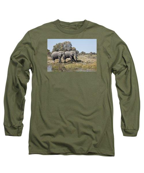 Two Bull African Elephants - Okavango Delta Long Sleeve T-Shirt