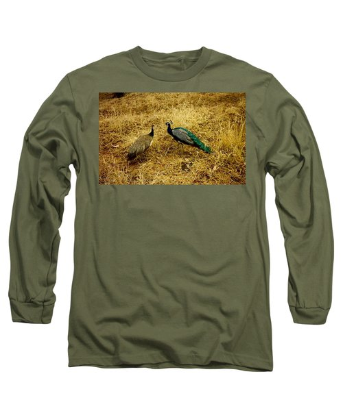 Long Sleeve T-Shirt featuring the photograph Two Peacocks Yaking by Amazing Photographs AKA Christian Wilson