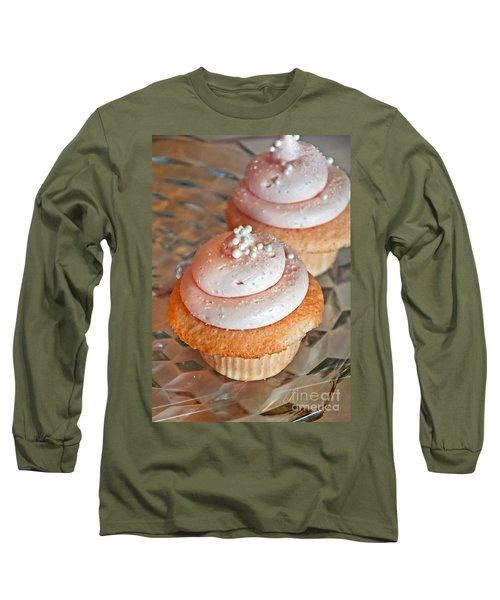 Two Pink Cupcakes Art Prints Long Sleeve T-Shirt by Valerie Garner