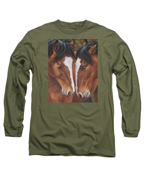 Long Sleeve T-Shirt featuring the painting Unbridled Affection by Kim Lockman