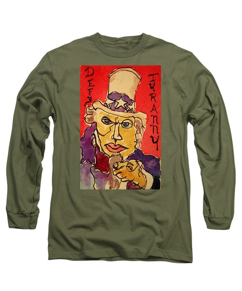 Long Sleeve T-Shirt featuring the painting Uncle Sam Defy Tyranny by Rand Swift