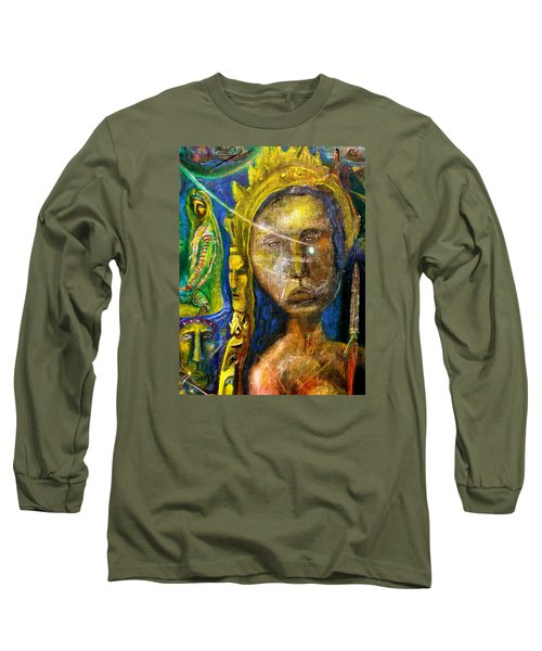 Long Sleeve T-Shirt featuring the painting Universal Totem by Kicking Bear  Productions
