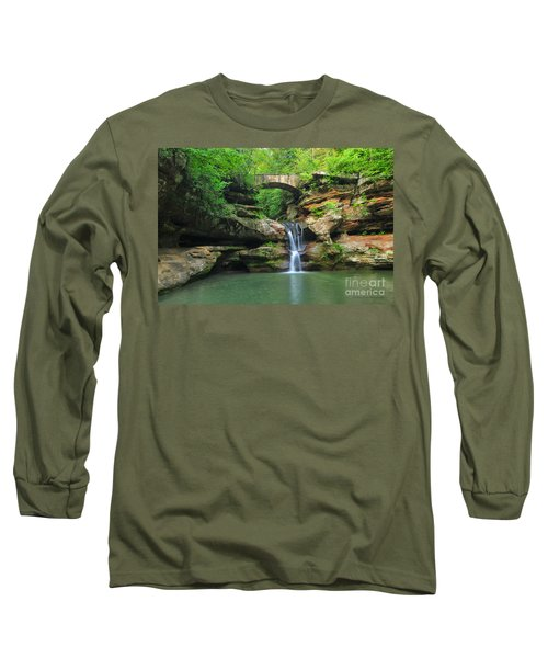 D10a-113 Upper Falls At Old Mans Cave Hocking Hills Photo Long Sleeve T-Shirt