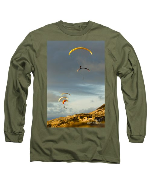 Paragliders Flying Over Coast Long Sleeve T-Shirt