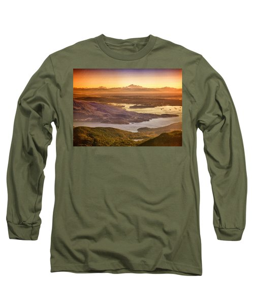 Vancouver And Mt Baker Aerial View Long Sleeve T-Shirt