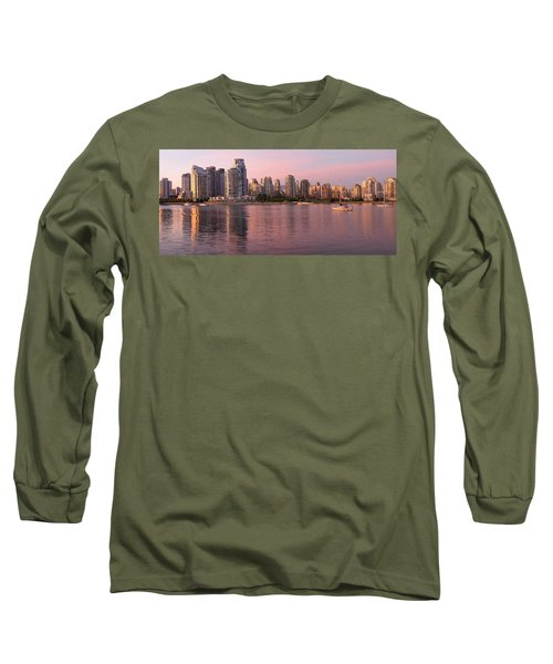 Long Sleeve T-Shirt featuring the photograph Vancouver Bc Skyline Along False Creek At Dusk by JPLDesigns