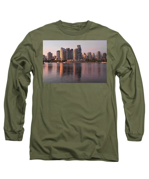 Long Sleeve T-Shirt featuring the photograph Vancouver Bc Waterfront Condominiums by JPLDesigns