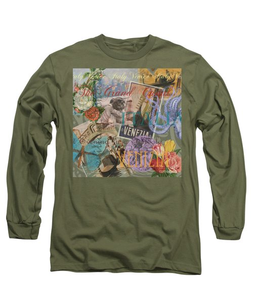 Venice Vintage Trendy Italy Travel Collage  Long Sleeve T-Shirt