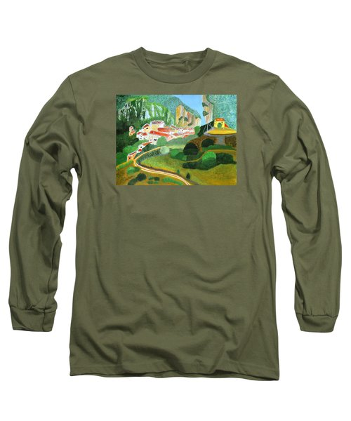 Long Sleeve T-Shirt featuring the painting Village In The Mountains  by Magdalena Frohnsdorff
