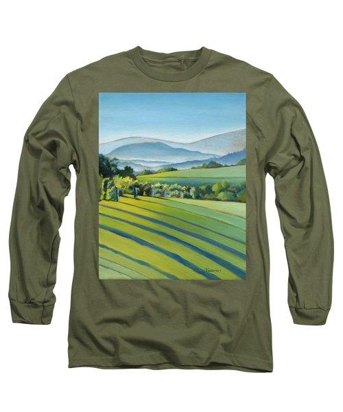 Vineyard Blue Ridge On Buck Mountain Road Virginia Long Sleeve T-Shirt by Catherine Twomey